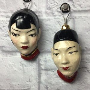 Vintage Asian Ceramic wall hanging couple heads